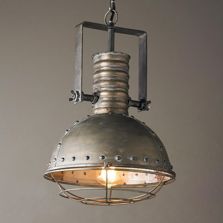 Industrial Caged Pendant With Rivets: Chandelier Over The Kitchen Sink - Google Search