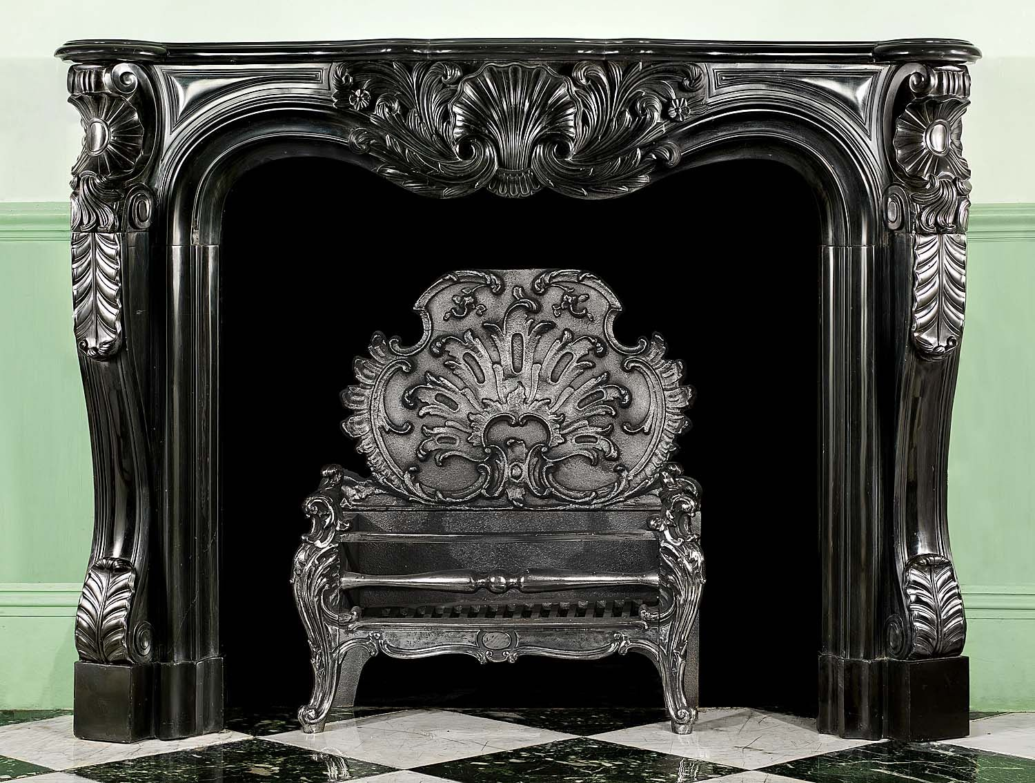 Antique French Black Marble Louis Xv Rococo Fireplace Mantel Black Marble Marble Fireplaces French Antiques