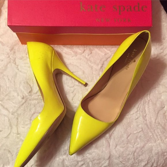 Kate Spade yellow Licorice Pumps size 10 A few marks on back of heel as pictures, but otherwise perfect! kate spade Shoes Heels