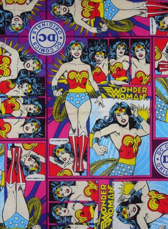 Wonder Woman Comic Style Fabric DC Comics 100% by PinkysCotton