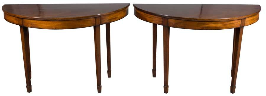 A Hard To Find Pair Of Antique Half Moon Tables From England In Mahogany.  Chippendale
