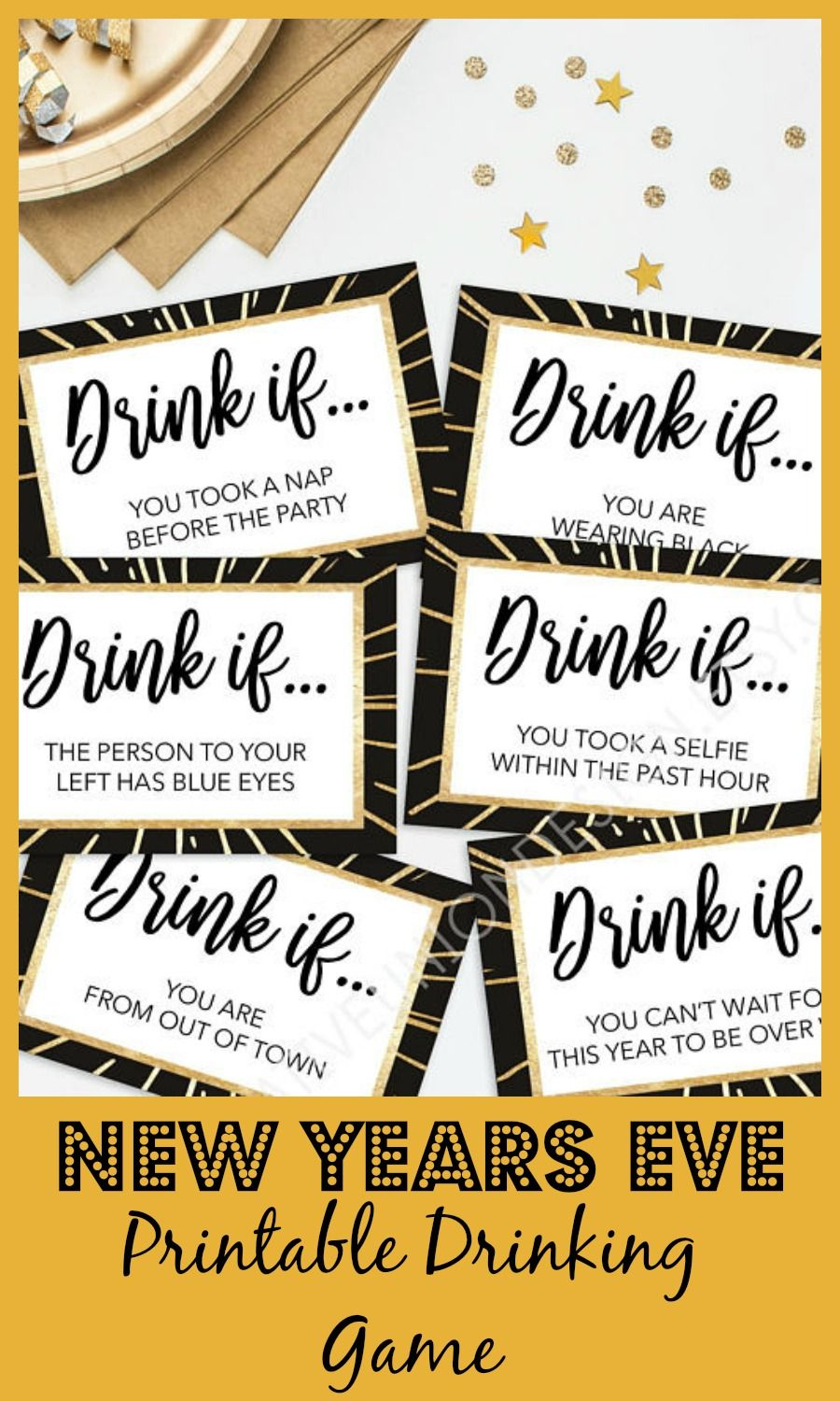 printable New Years Eve drinking game, the perfect way to