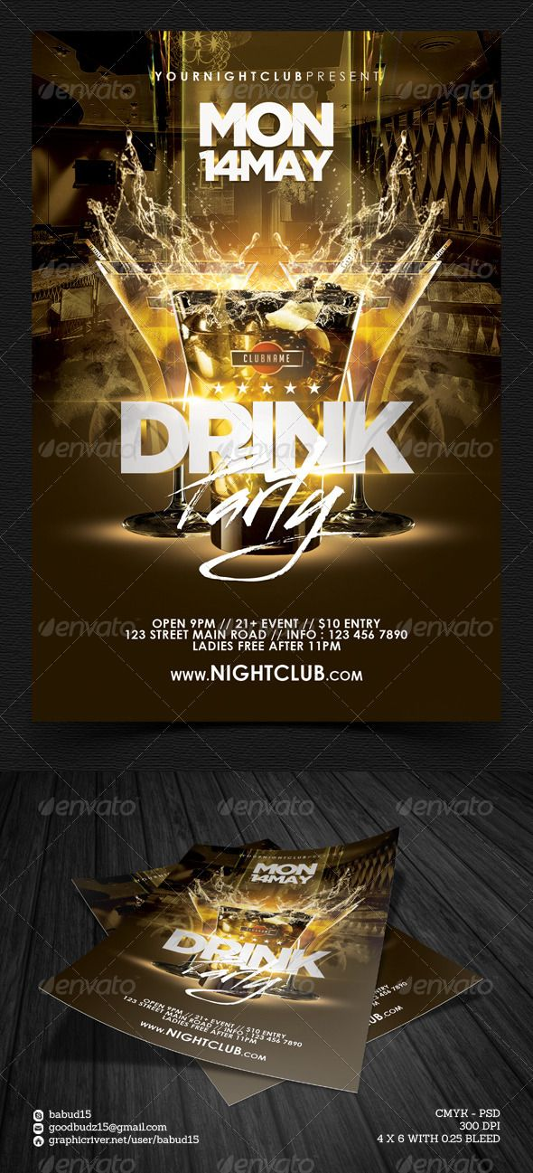 Drink Party Flyer Template Print-templates Flyers Events To make