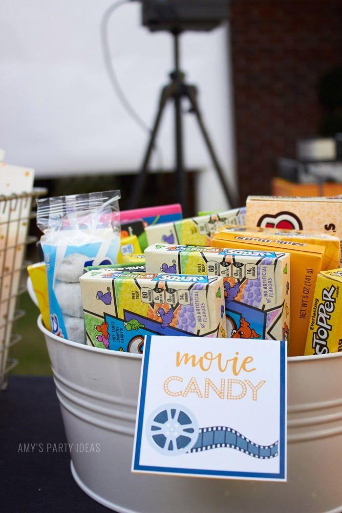 Diy outdoor movie party ideas amyspartyideas candy dataandamovie also rh in pinterest