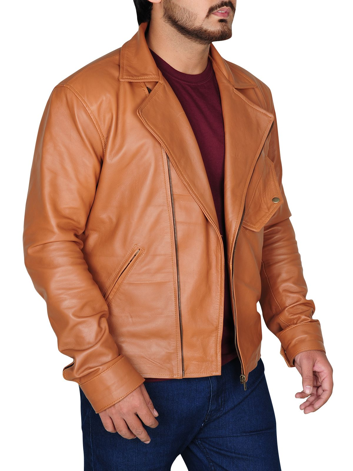 Classy Tawny Brown Leather Jacket (With images) Leather