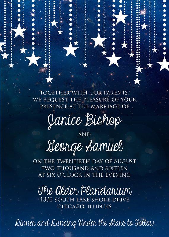 Night Sky Wedding Invitation Starry Night Invitation Full Suite