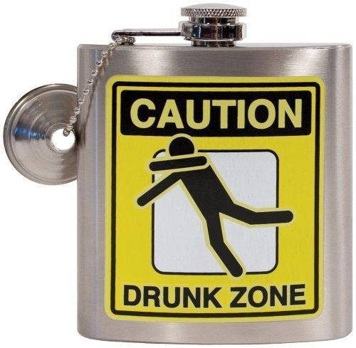 Oak Patch Caution Drunk Zone 7 Ounce Hip Flask With Funnel Mens Gag Gift