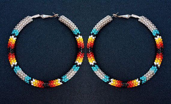 SandFire Native American Peyote Stitch Hoop Earrings by eleumne, $45.00