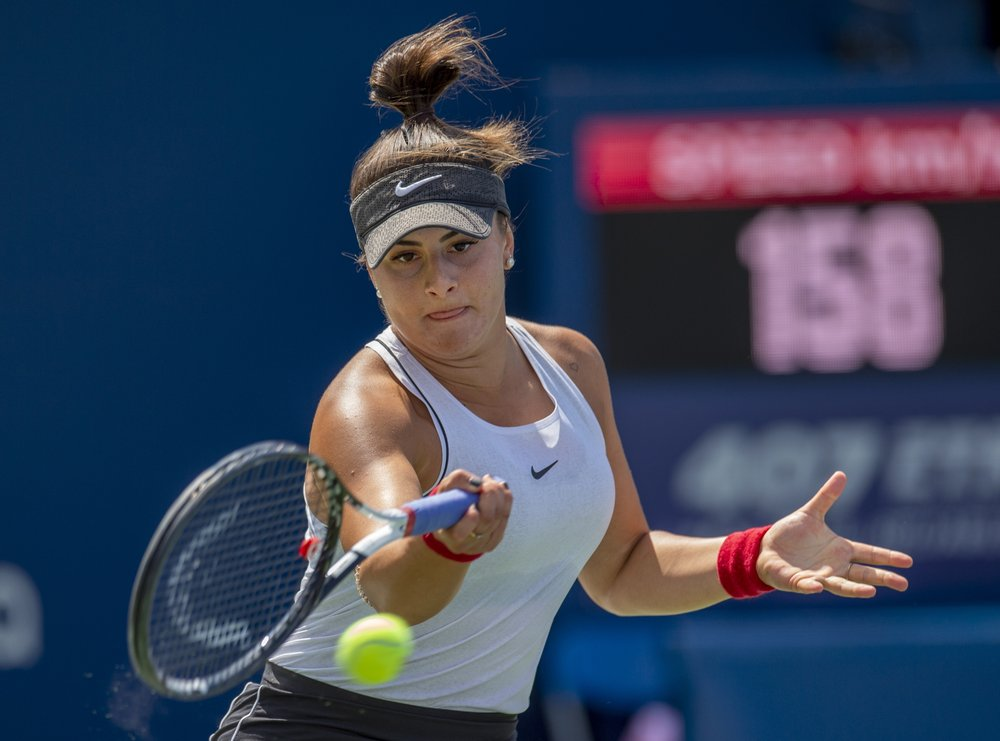 Bianca Andreescu Of Canada Hits A Forehand To Sofia Kenin Of The United States During The Rogers Cup Women S T Cup Final Canadian Tennis Player Tennis Stars