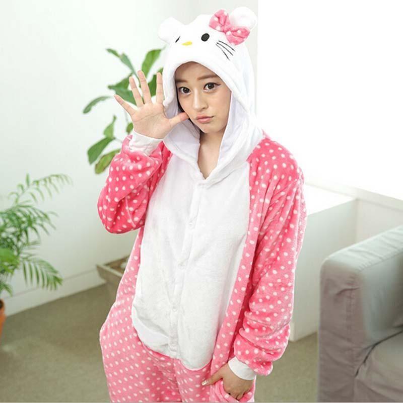 Fashion style flannel animal dot cat pajamas one piece
