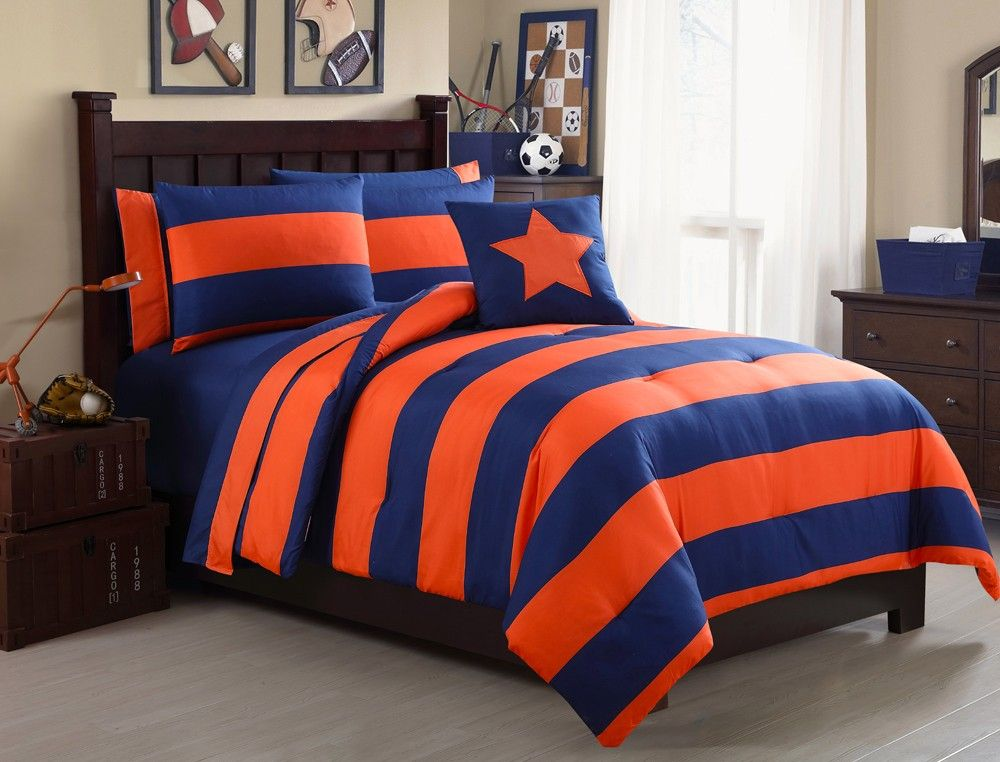 Vcny Striped Bed In A Bag Twin Xl 8 Pc Set Navy Blue And Orange