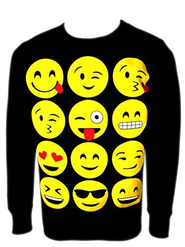 Ael Girls Emoji Sweatshirt New Kids Emoticons Smiley Face Jumper Top Pants Ages 5 13 Girl Emoji Emoji Sweatshirt Sweatshirts