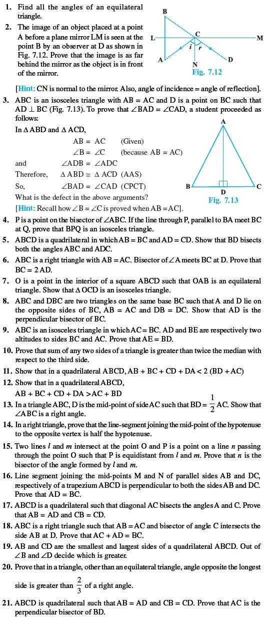 Class 9 Important Questions for Maths - Triangles | sample