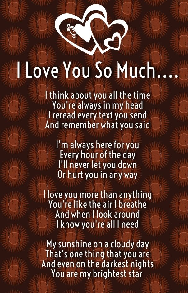 Nice I Love You So Much Poems For Him And Her With Images