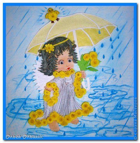 Картина панно рисунок Квиллинг Ангел под дождём и на лугу ...