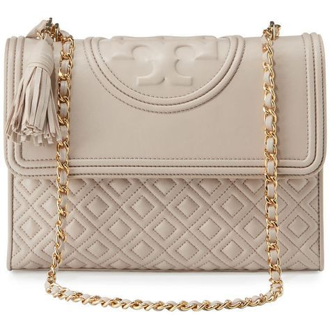 Tory Burch Fleming Quilted Convertible Shoulder Bag ($520) ❤️ liked on Polyvore featuring bags, handbags, shoulder bags, bedrock, pink shoulder bag, quilted handbags, chain purse, zip purse and pink quilted purse