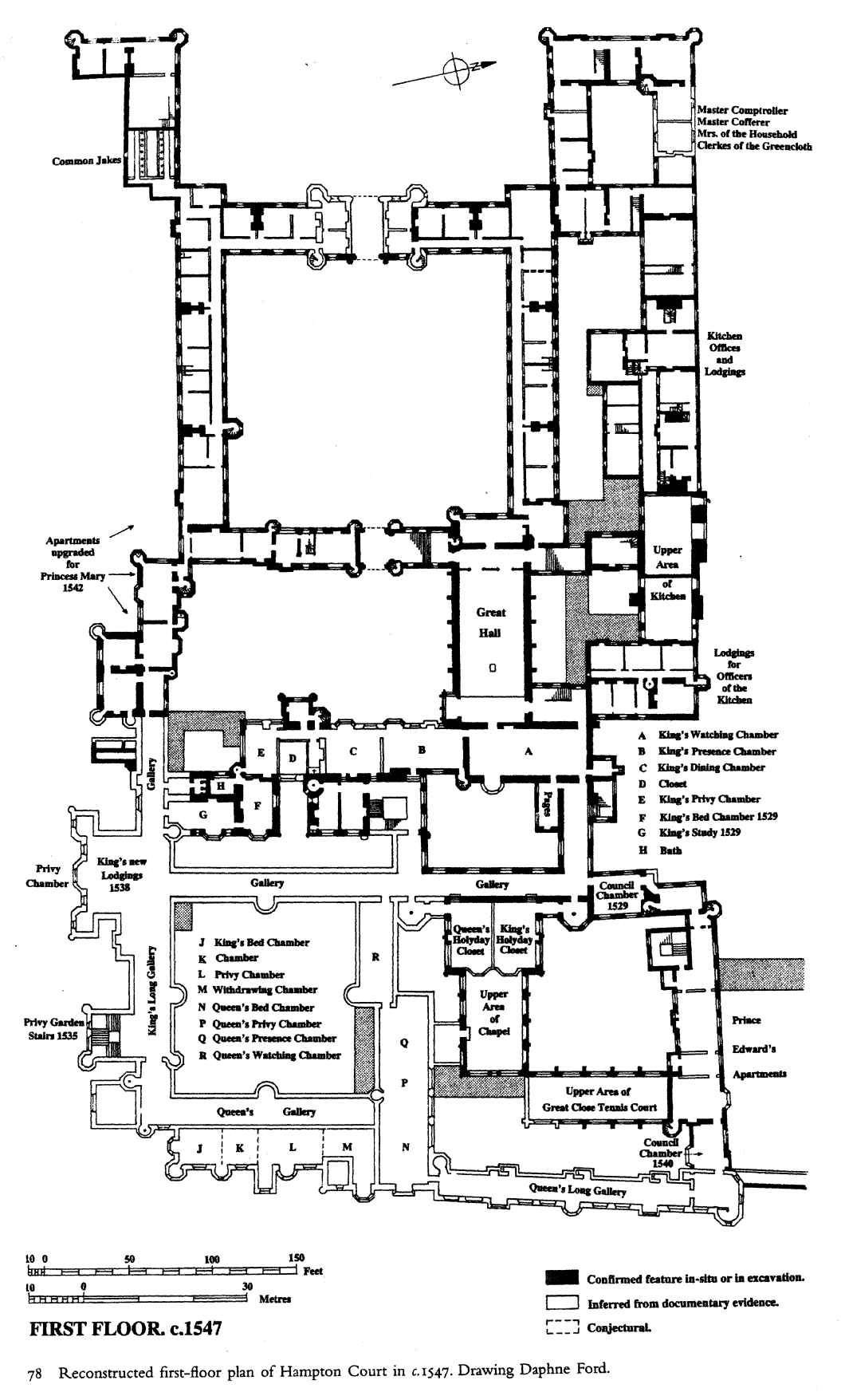 Hampton Court Palace First Floor Plan Under Henry Viii Circa 1547 Castle Floor Plan Vintage House Plans Architectural Prints