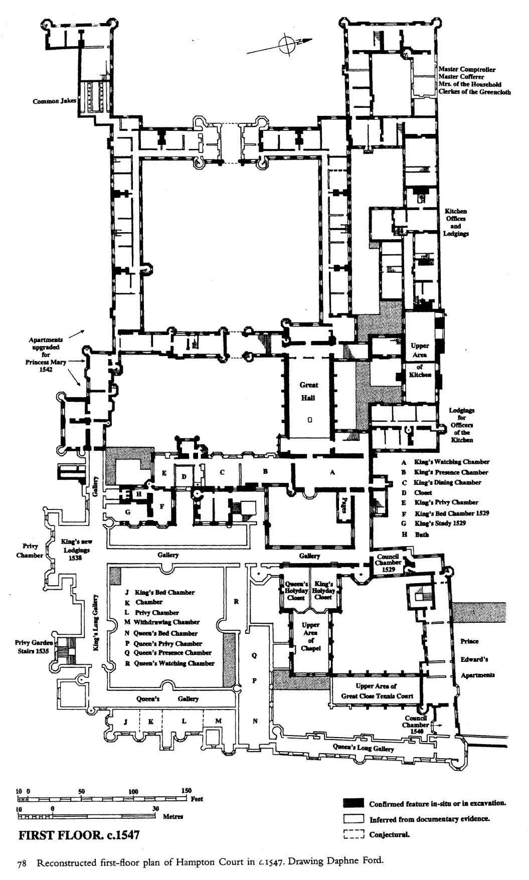 Hampton Court Palace First Floor Plan Under Henry Viii Circa 1547 Castle Floor Plan Vintage House Plans Architectural Prints
