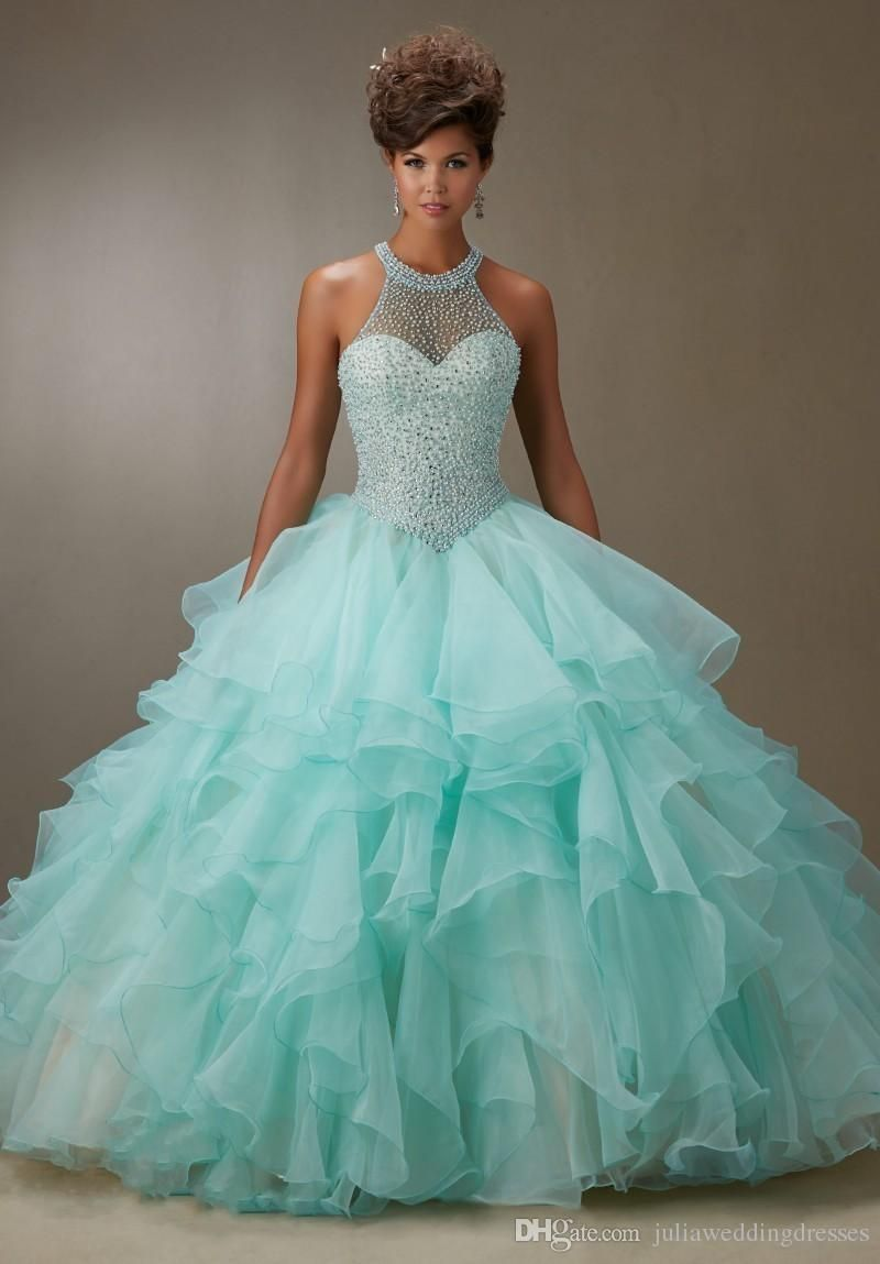 f7fb2e71004 New Elegant Cheap Mint Blue Ball Gown Quinceanera Dresses 2017 Crystal  Beaded Sweetheart Sweet 16 Dresses