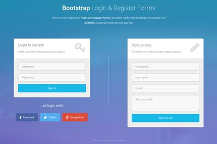 bootstrap login and register forms in one page 3 free templates