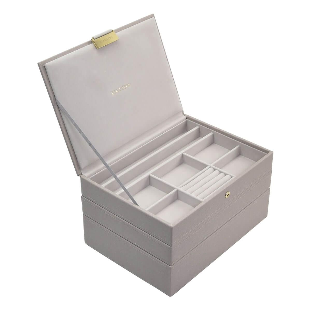 19++ Stackers taupe classic premium stackable jewelry box info