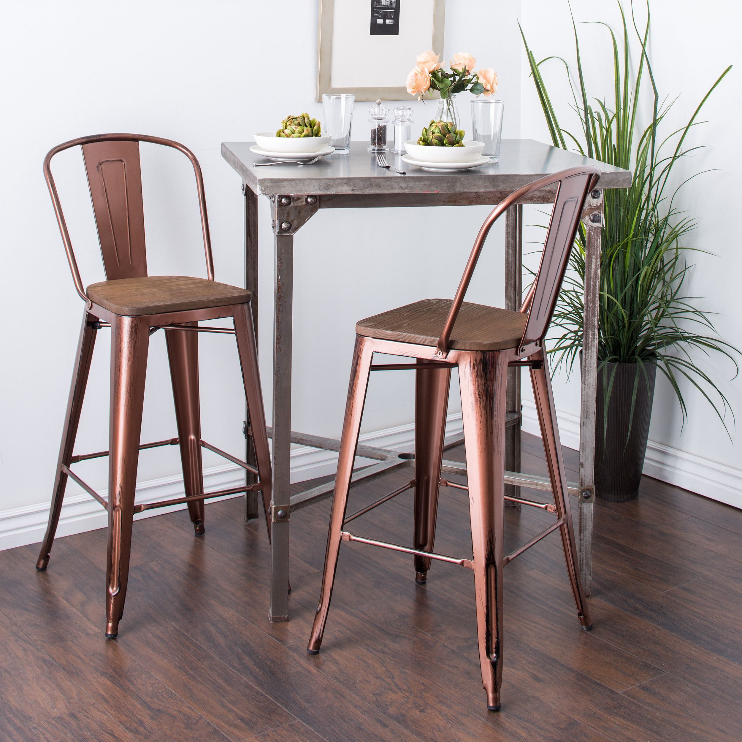 30 Inch Wood Seat Brushed Copper Bistro Bar Stool Set Of 2