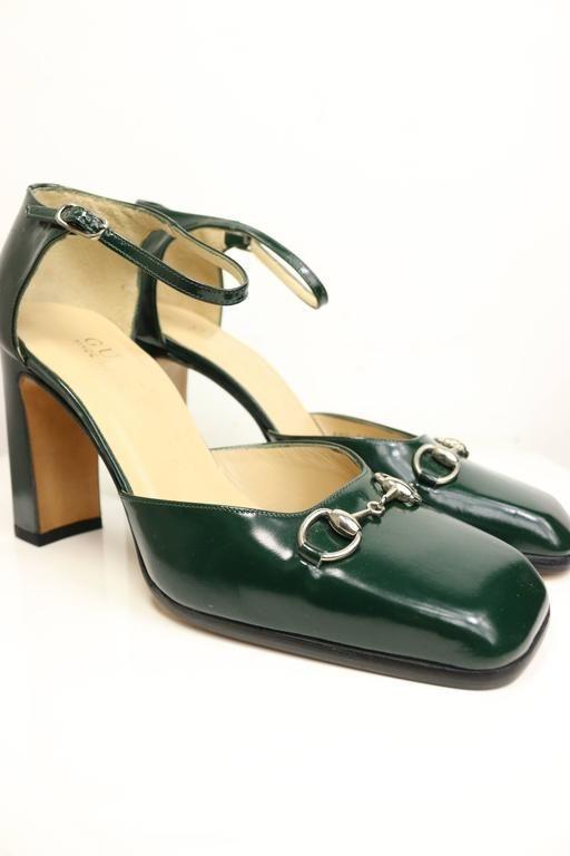 a1e38835f Gucci By Tom Ford Classic Green Leather Square Toe Strap Pumps ...