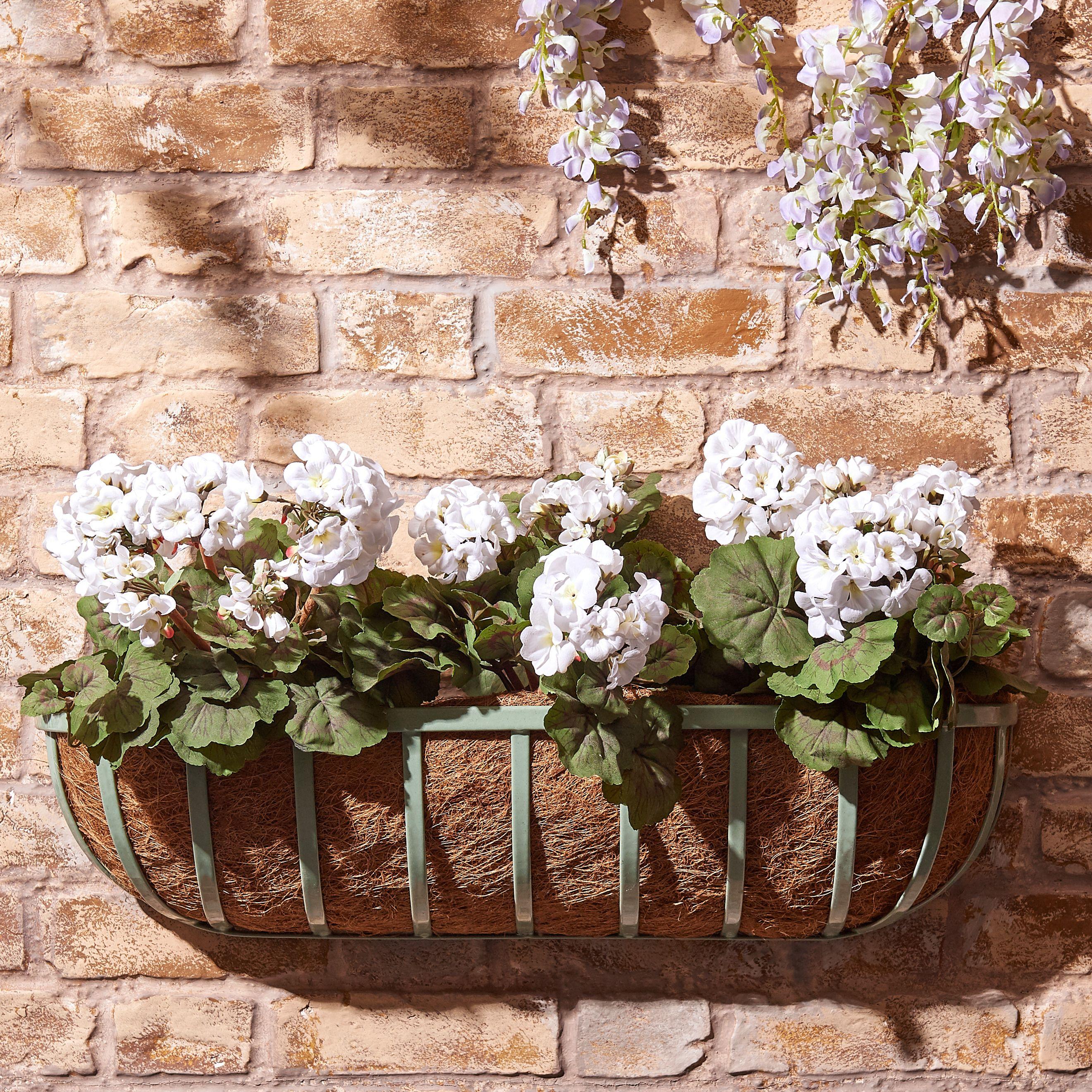 70cm Sage Large Metal Wall Basket with Liner Baskets on