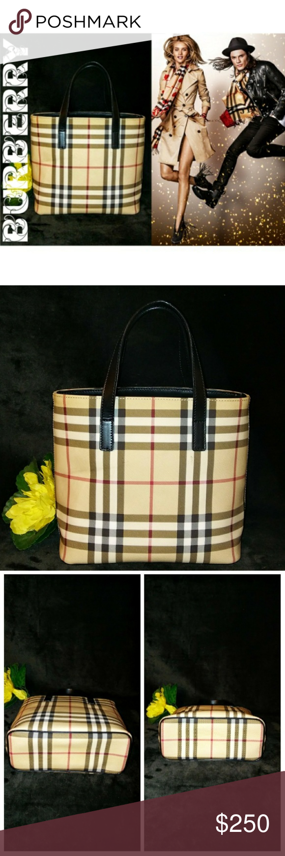 Authentic Vintage Burberry Nova Check Mini Tote Pre Owned Almost Vintage 15 Years Old Authentic Burberry Nova Che Burberry Bag Mini Tote Black Leather Strap