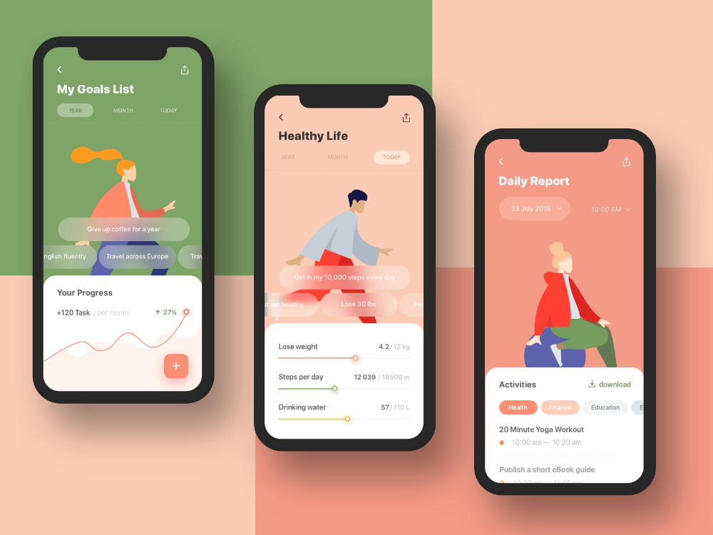 Goals Habits Tracking App Design Concept App Design Concept Design App Interface Design