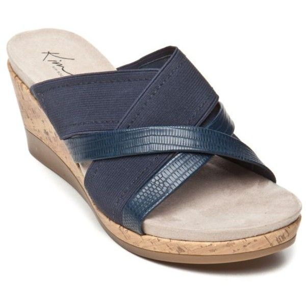 0ab052f6b7 Kim Rogers Denim Blue Gayla Wedge Sandal - Women's ($30) ❤ liked on Polyvore