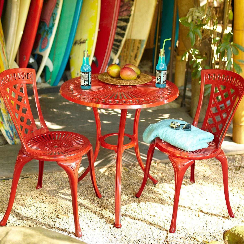 Neely Bistro Set Red Bistro Set Outdoor Patio Furniture Sets