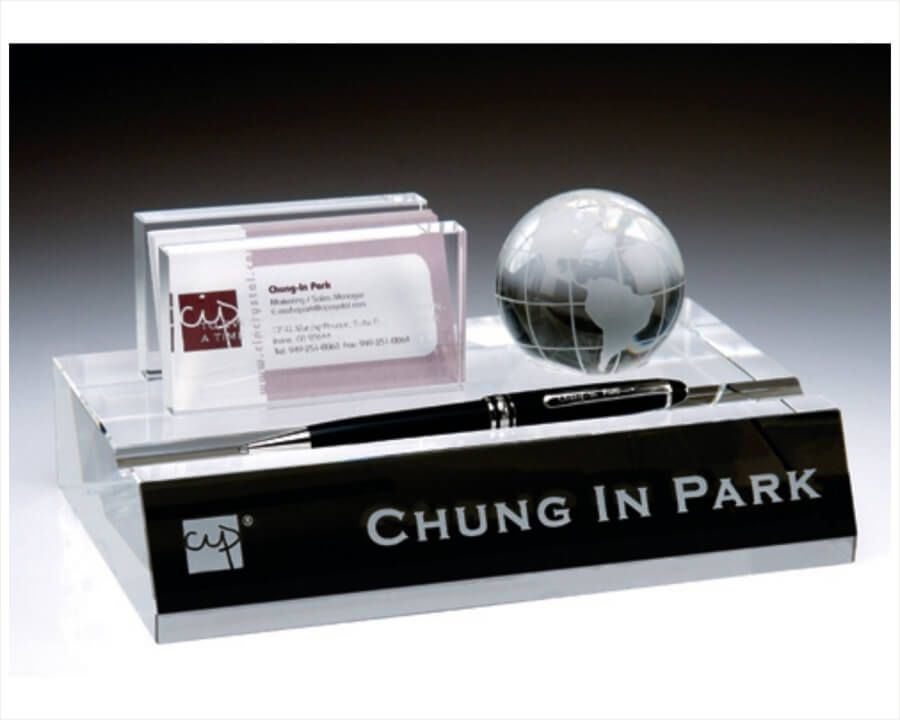Engraved crystal name plate business card pen holder with globe engraved crystal name plate business card pen holder with globe impressive optic crystal colourmoves