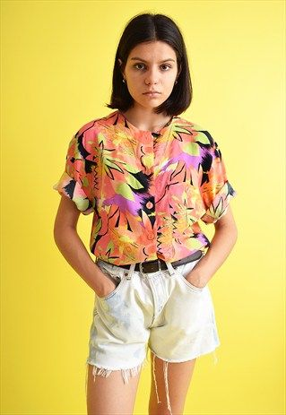 c5cdfe88c 90's+retro+Hawaii+print+oversized+shirt+blouse+top | hawaii style ...