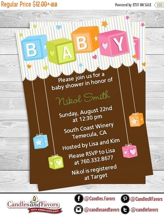 Sale Building Blocks Baby Shower Invitation - Blocks Baby Shower ...