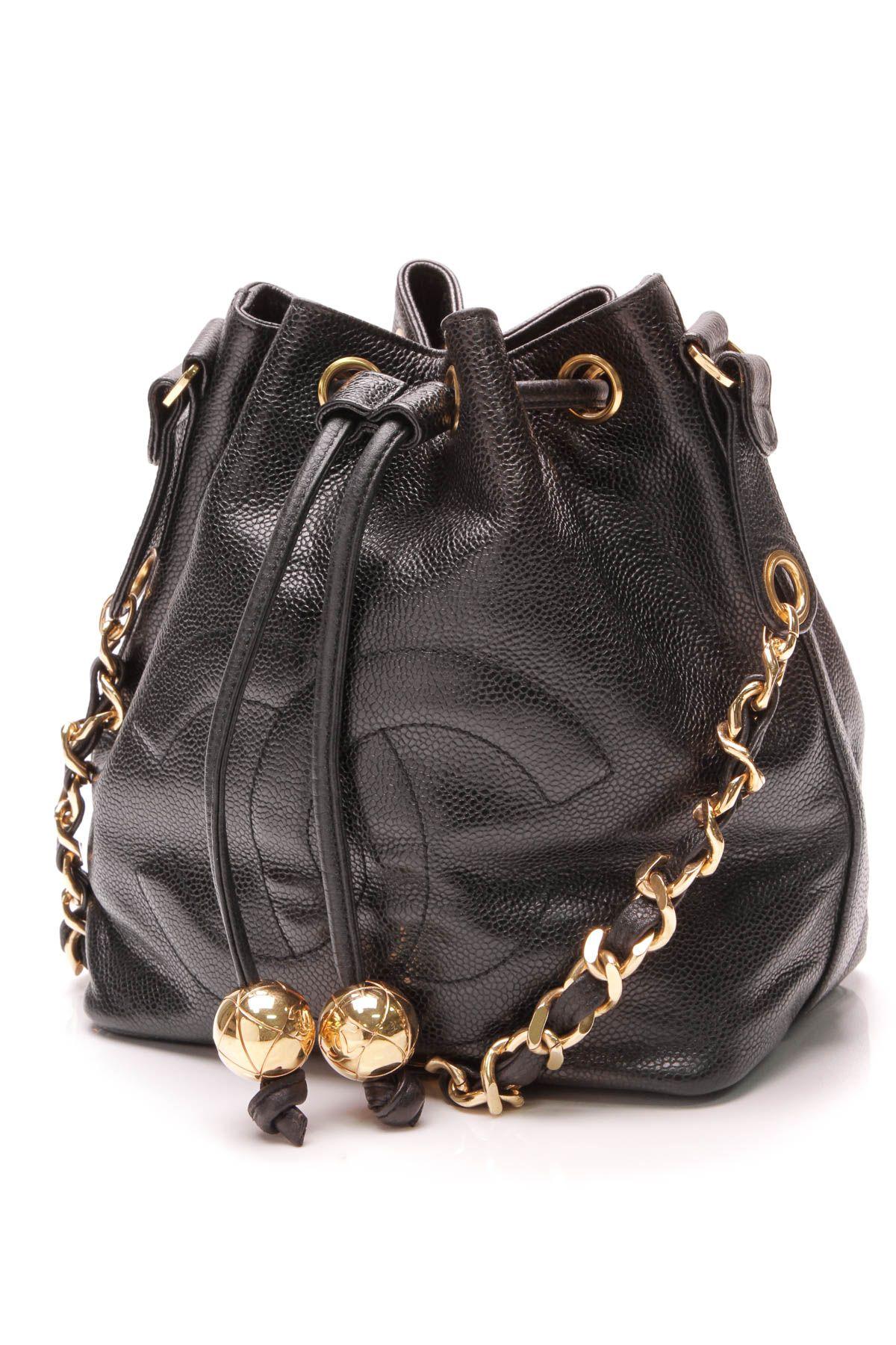07f9132a7355 Vintage CC Drawstring Shoulder Bag- Black Caviar | Crazy for Coco ...