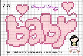 Ateliê de Mimos da Quelsfs: Gráficos de ponto cruz para bebês - Cegonha com bebê