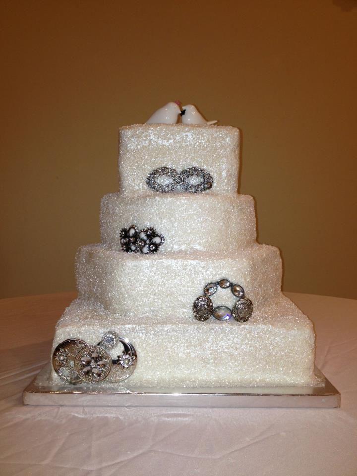 Glitter Broach Wedding Cake Bake Your Day, LLC - Alexandria, LA www.facebook.com/bakeyourdayllc (318) 229-0299 bakeyourdayllc@hotmail.com