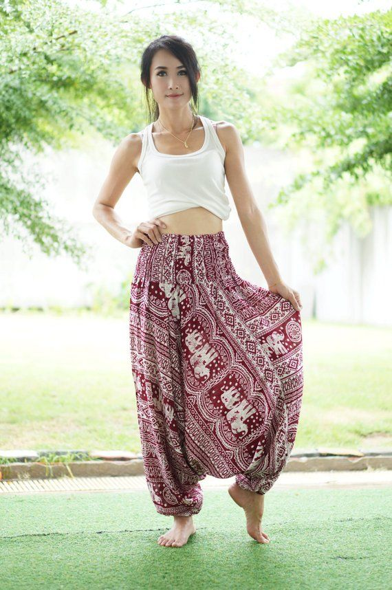 b1aba1df25 Red Elephant Thai Harem Pants,Aztec Ethnic Print Pants,Rayon Pants,Elastic  Waist Clothing Beach Wome