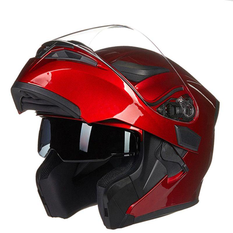 JIEKAI Casco modular de doble lente motocicleta o motocicleta
