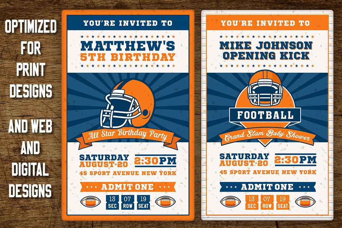 Football Ticket Party Invites 4 Psd Template Insignia Label Download Football Ticket Football Ticket Invitations Invitation Template