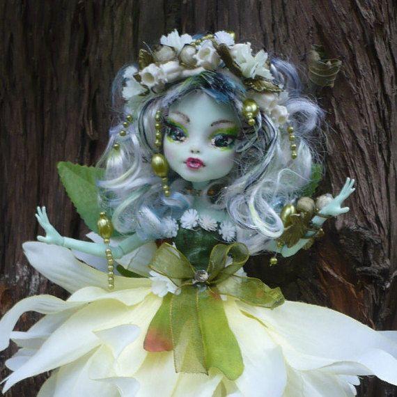 Flower fairy, Monster ooak doll, repaint