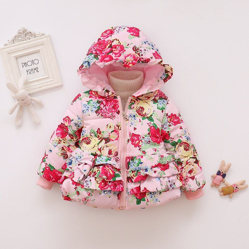 Kid Baby Girl Winter Warm Butterfly Hoodie Coats Zipper Jackets Snowsuit Clothes