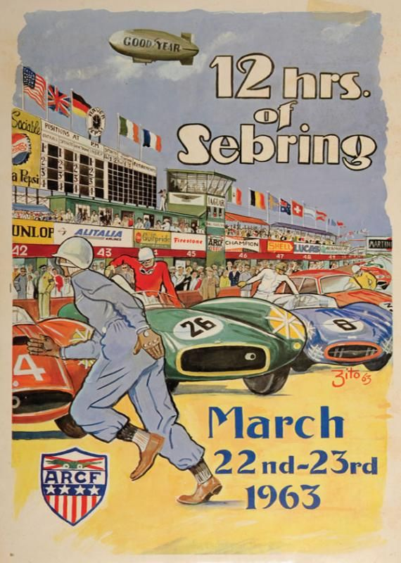 12 Hours Of Sebring 1963 Original Official Event Poster By Zito
