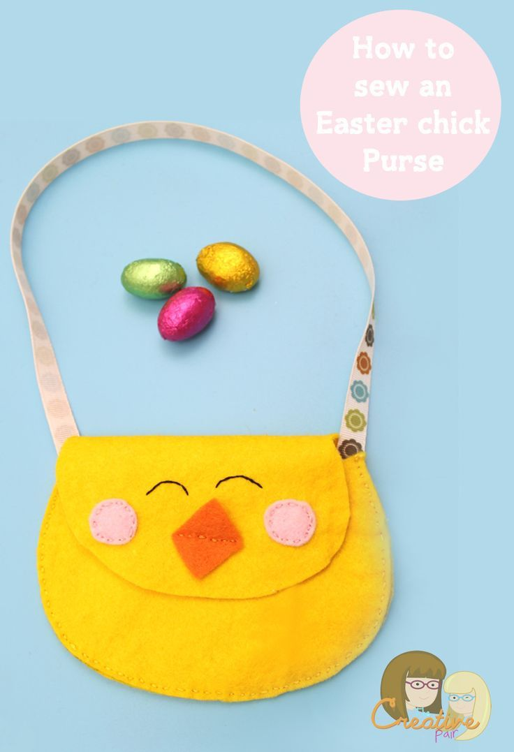 Cute felt chick purse simple diy sewing projects and felting cute felt chick purse easter craftsfelt negle Images