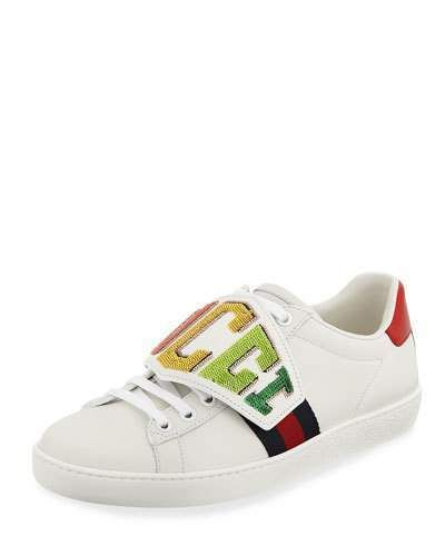 94f79c6e85f Gucci Ace Rainbow Patch Leather Low-Top Sneakers
