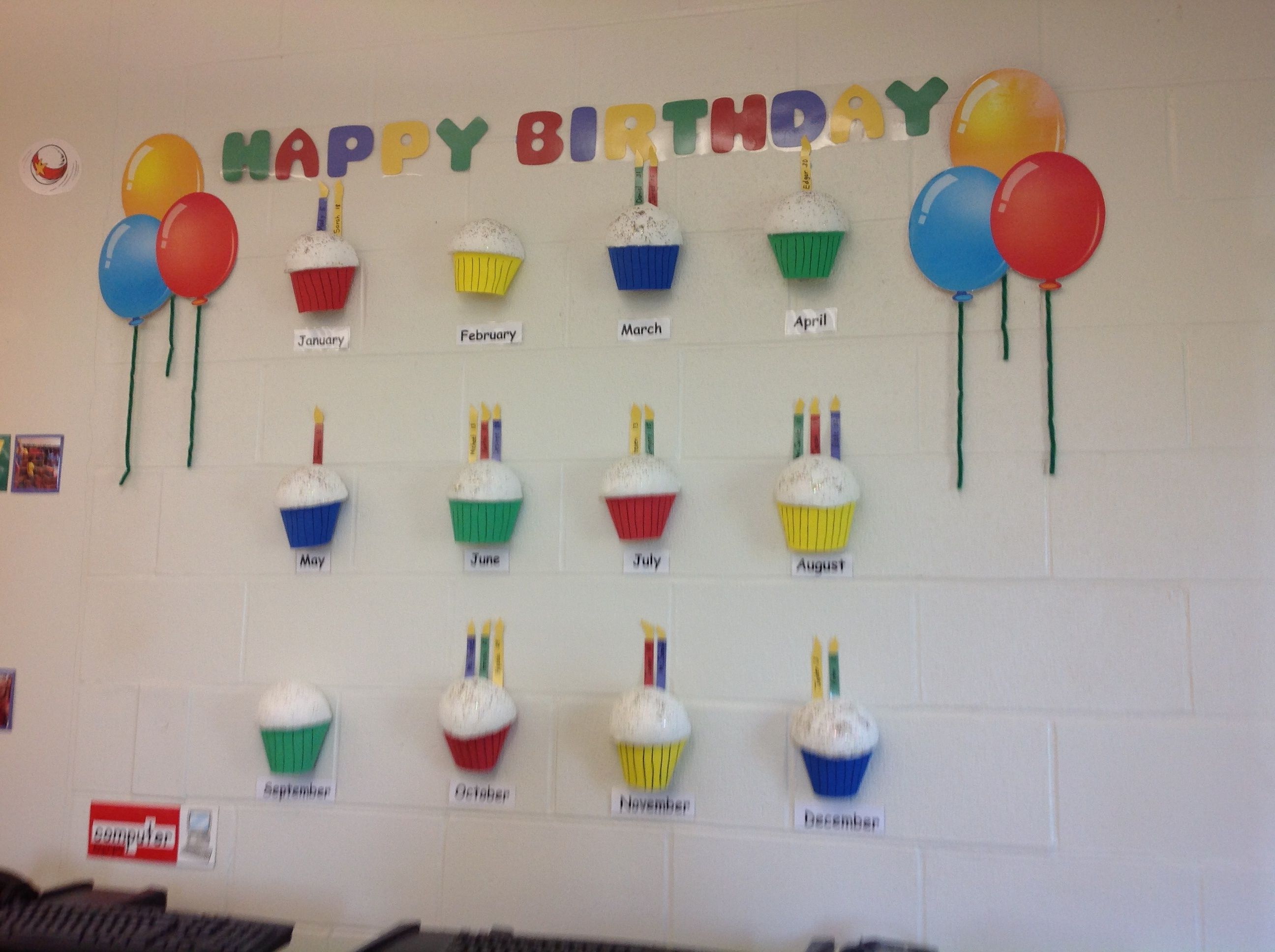 Happy Birthday Wall Art For The Classroom. Each Student's