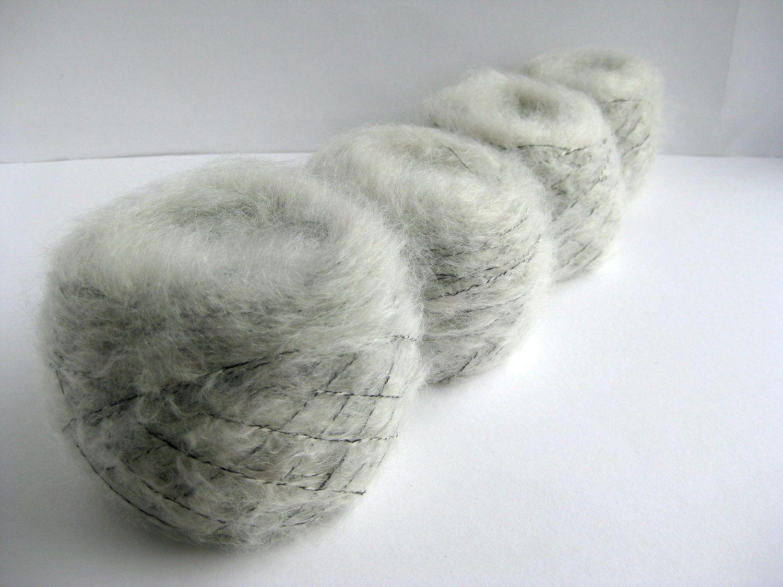 Luxury mohair, Grey colour, Yorkshire, Mohair Yarn, 90% Mohair. £4.50, via Etsy.