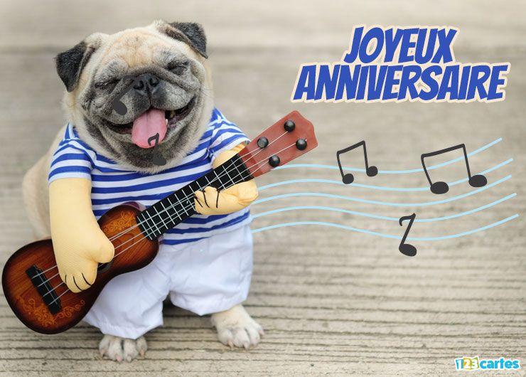 Carte Joyeux Anniversaire Chien à La Guitare Anniversaire Joyeux