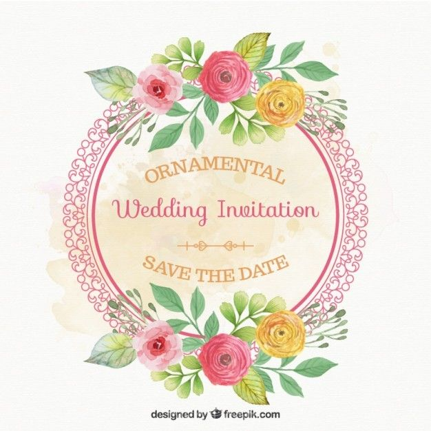 Ai Rounded Frame With Flowers Wedding Card Vector Free Download